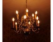 Glowing Chandelier - 8x8 Fine Art Photograph - Warm Atmospheric Fine Art Photographic Print