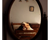 Reflection of Girl in Bedroom - 5x5 Fine Art Photograph - Sensual Natural Light Photography Print