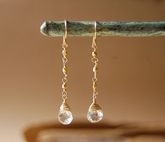 Easy Does It - White Topaz Earrings