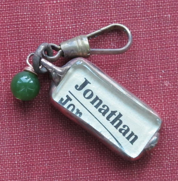 Name Initial charm from VIntage Dictionary, Jonathan  J on a Vintage Brass Clip with Jade Stone