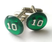 NUMBERED (As seen in New York Magazine) --Emerald Epoxy Resin Custom Number Monogram Cufflinks--Dozens of Colors Available