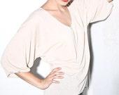 Womens Madrid beau cou asymmetrical delicate top, natural beige