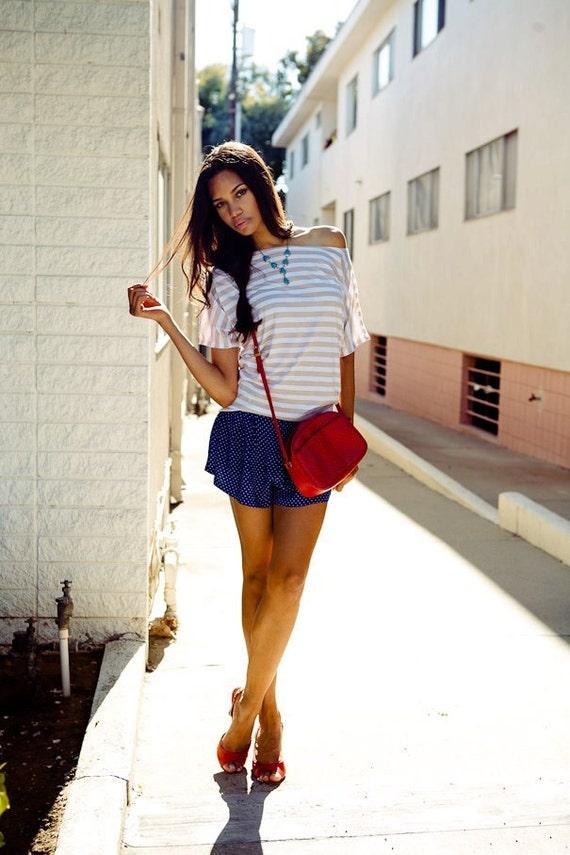 Womens Nautical Shirt boatneck stripe top Medium