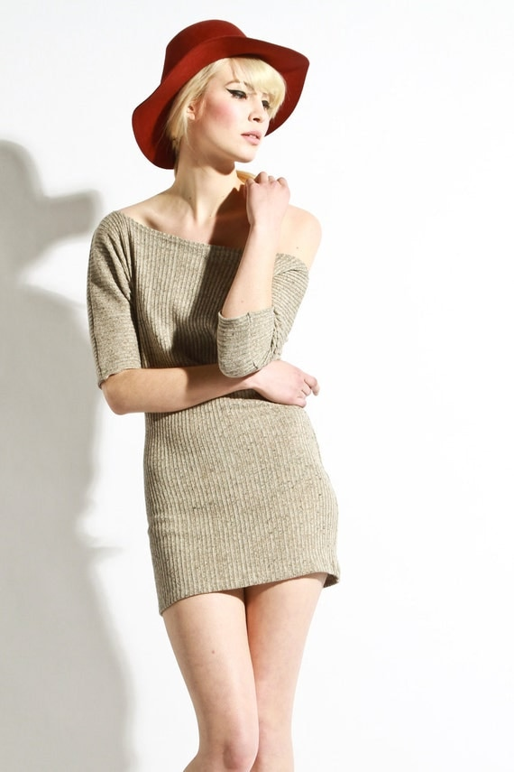 Off The Shoulder Dress - Womens Coffee Grain Textured knit Limited Edition