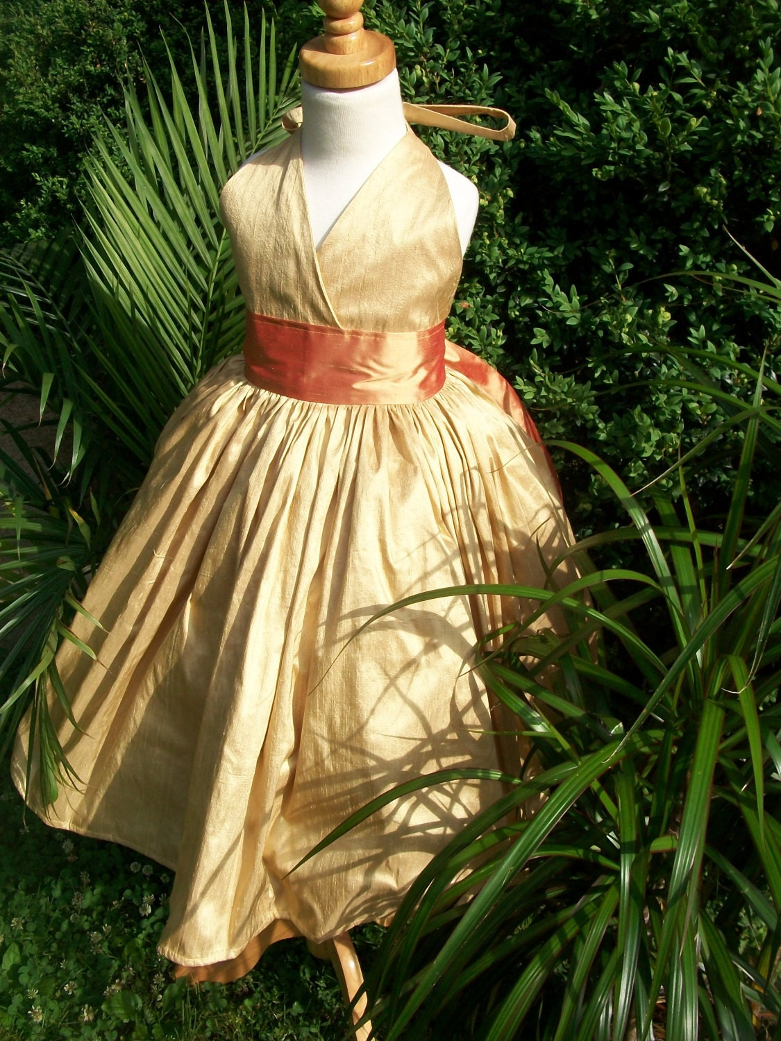 Gold and Copper Flower Girl Dresses for Wedding by mapletree2000