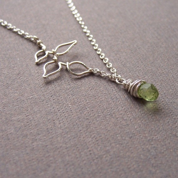 Asymmetrical peridot and leaves necklace - jewelry by jackie