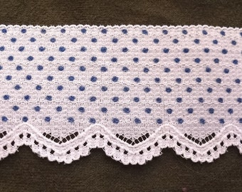 White with Blue Polka Dot Sewing Trim with White Lace Edging-Three Yards