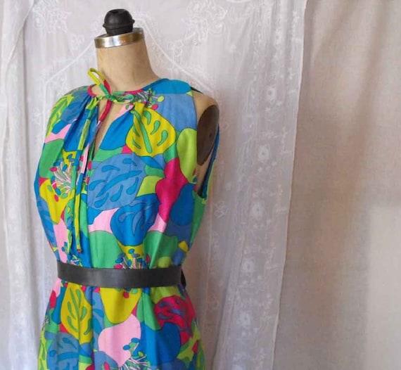 Womens Vintage Hawaiian MAXI Summer Dress by Pikake Fashions Colorful Bold Flower Print Floor length