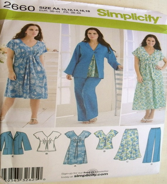 Simplicity Pattern 2660 for Misses Skirt, Pants, Dress, or Top and Jacket