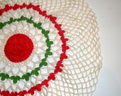 Large Vintage Crochet  Doily, Mid Century Home Decor,  Red Flower Center, Green, Beige, Round, Floral Table Mat Decoration  (507-11)