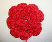 Vintage Red Crochet Flower Rosette, Appliqque, Sewing Crafting Trim  (784-10)