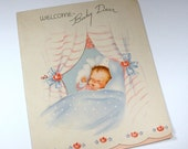 Vintage New Baby Card Pop Up Greeting Card  (482-10)