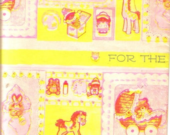 Vintage Baby Gift Wrapping Paper, Yellow, New Baby