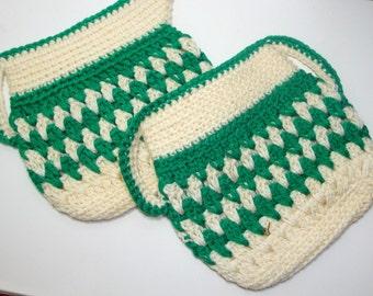 Vintage Pair Crochet Potholders, Hotpad, Green and White, Cream and Sugar Shape, Retro Kitchen Decor, Pot Holder