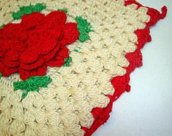 Vintage Crocheted Pot Holder, Potholder, Red and White, Red Flower, Mid Century, Retro Kitchen Decor, No. One