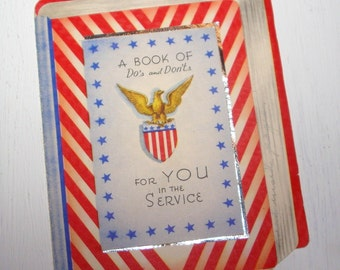 Vintage  Patriotic Military Greeting Card, Do's And Don'ts, Red, White, Blue Stripes, Serviceman, Eagle  (172-11)