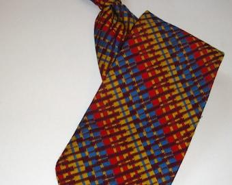 Vintage Men's Necktie, Tie, Metal Clip On Tie, Multi Color, Blue, Gold, Man's Suit Accessory, Retro  (342-11)