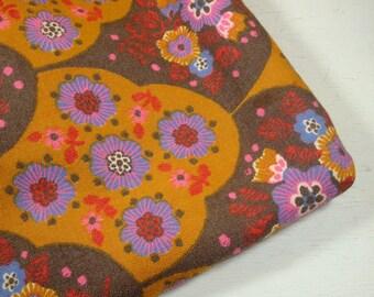 Vintage Colorful Fabric, Retro Look,  Brown, Purple, Orange, 1 1/2 Yards  (358-11)