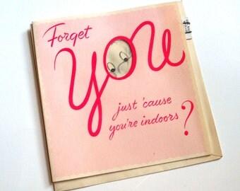 Vintage Greeting Card, Pink,  Elephant  (517-11)