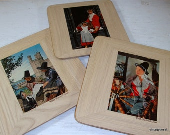 Vintage Welsh Wood Plaques,  Set of 23, Cork Back, National Welch Dress  (0033)