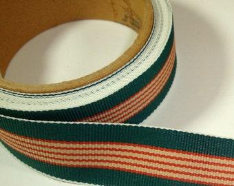 Vintage  Green Striped  Ribbon, Trim, One Yard  (760-11)