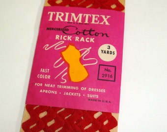 Vintage Red Trimtex Cotton Rick Rack Sewing Trim, Color Fast, Decoration for Aprons, Curtains, 3 Yards