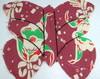 Vintage Cotton Fabric Butterfly Quilting Pieces, Quilting Appliques, Sewing Supplies, Old Fabric, Mid Century, 1940's, Set of 19 (515-12)