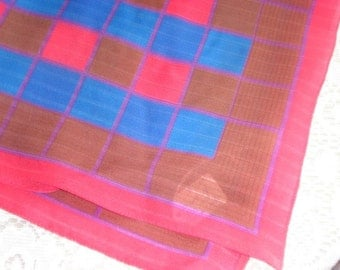Vintage Scarf ,Made in Italy, Red and Blue Squares  (429-10)