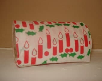 Christmas Tissue Paper, Candles, Red and Green, Holly, Holiday Bathroom Decor, Decorated Retro Toilet Paper, Kitschy (470-10)