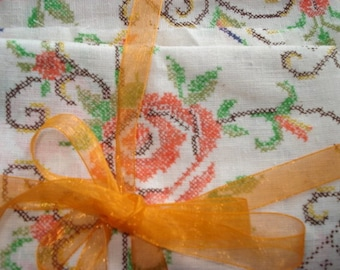Vintage Fabric With Cross Stitch, Crafting and Sewing Supply, Orange, Green, Brown  (522-10)