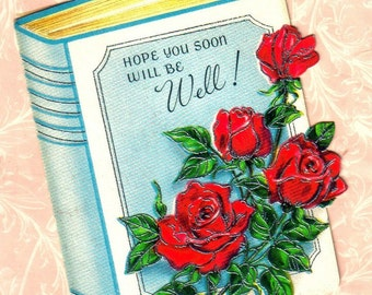 Vintage Get Well  Greeting Card, Red Roses, Flowers, Floral, Mid Century  (478-10)
