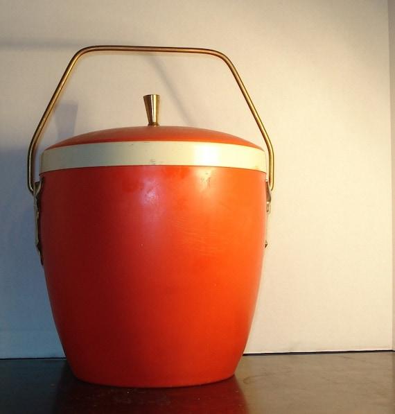 Vintage Ice Bucket Orange Retro