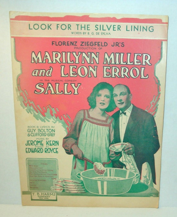 Look For The Silver Lining,  Vintage Sheet Music, Song, Narilynn Miller, Leon Errol,  Sally, Zeigfeld, 1920