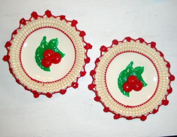 Vintage Cherry Wall Hanging, Red Crochet Trim,  Kitchen Decor