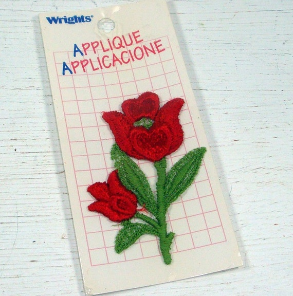 RESERVED...Red Rose Applique, Floral Patch, Sewing Trim