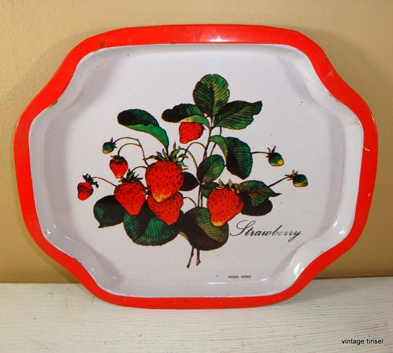 Vintage Metal Strawberry Tray