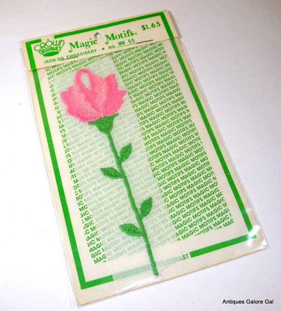 Vintage Iron On Embroidered Pink Rose Applique, Sewing Patch,Embellishment,  Magic Motifs (64-12)