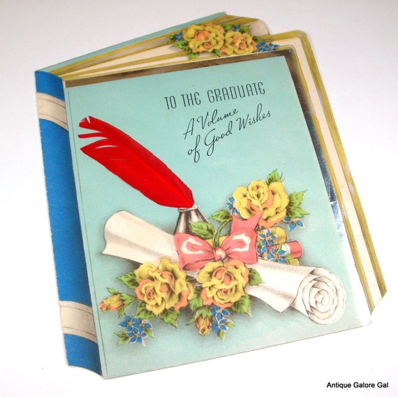 Vintage Graduation Greeting Card, Good Wishes To The Graduate, Yellow Roses, Red Feather, Mid Century Paper Ephemera   (493-10)