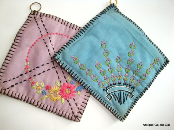 Vintage Embroidered Potholders With Blanket Stitch Edging  (397-12)