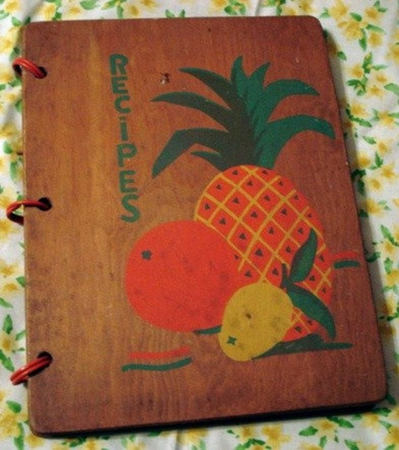 Wood Cover Cookbook : Vintage wood cover cookbook tropical theme recipe book
