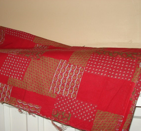 Vintage Red Fabric,  Blocks  (331-10)