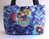 fabric handbag, shoulder bag, tote, diaper bag, 50% CLEARANCE SALE, periwinkle blue, mint green, spring