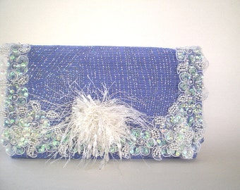 blue bridal clutch, bridal purse, evening bag, spring wedding, bridesmaid, something blue, maid of honor, Gatsby, flapper, prom