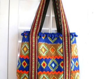 boho chic handbag, tribal bag, Aztec bag, gypsy bag, book tote, western bag, southwestern bag, market tote, knitting bag, shoulder bag