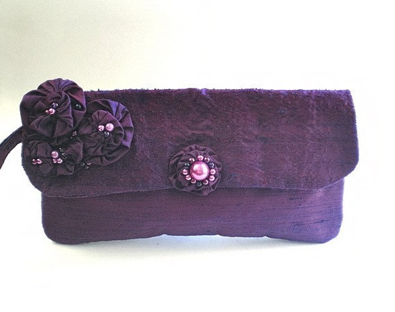bridal clutch, bridal purse, bridesmaid, 15% off coupon, Cyber Monday, formal, purple, plum, dupioni silk, beaded