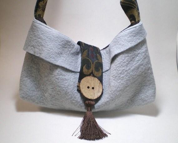 felt, facric handbag,  end of year sale, CLEARANCE, shoulder bag, tapestry, Boho, pale grey, pastel blue, bronze brown
