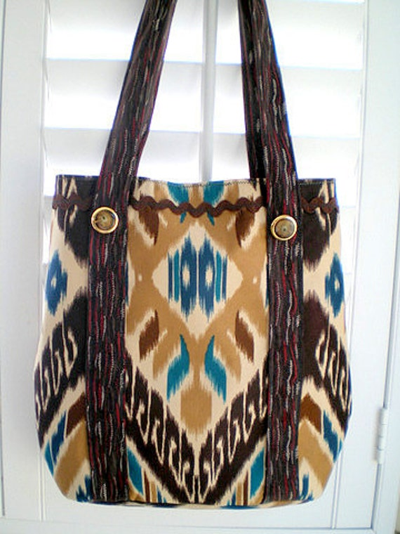 15% COUPON SALE,  beach bag, purse, book tote, shoulder bag, hip bag, aqua, teal, brown, ikat, tribal, ethnic, anthropology style