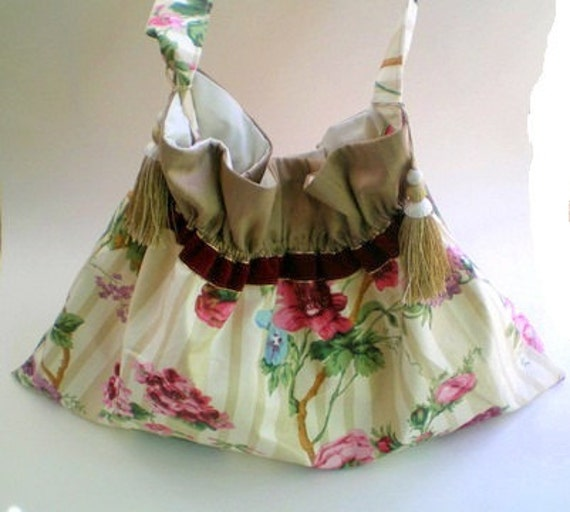 Handmade fabric bag, handbag, cottage chic, gypsy, shoulder bag, crossbody, tassels, pink, rose, beige, plum