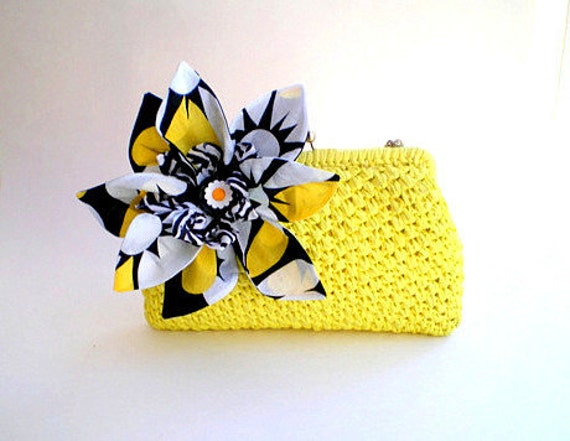 20% COUPON SALE, vintage, yellow, chain handle, clutch, purse, wedding, bridal purse, altered couture, fabric flower, black and white,