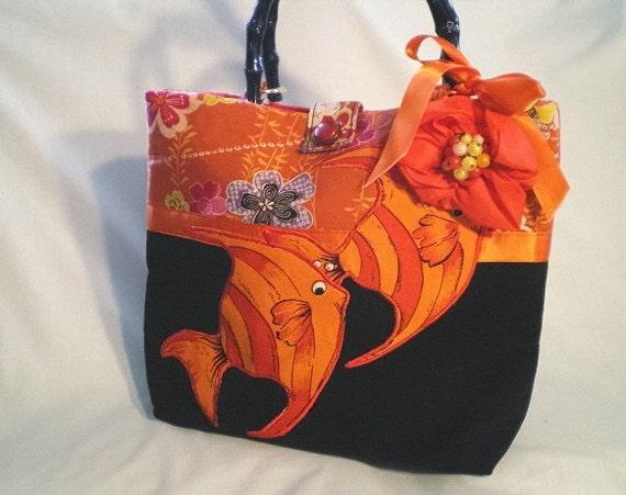 70% CLEARANCE SALE, handbag, orange, black, Asian, Japanese fabric, vintage jewelry, tropical